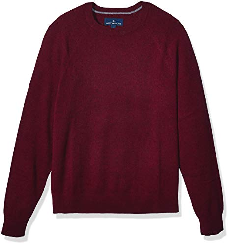 Amazon Brand - Buttoned Down Men's 100% Premium Cashmere Crewneck Sweater, Burgundy, Medium