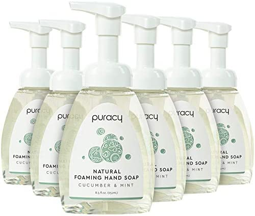 Puracy Natural Foaming Hand Soap Moisturizing Hand Wash Cucumber Mint 8 5 Ounce Pack of 6 product image