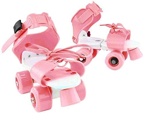 TXYFYP Kinder Rollschuhe, Verstellbar Geschwindigkeit Quad Rollschuhe Schuhe, Tragbar Vier Rad rutschfest Skate Schuhe, Weihnachten Geburtstagsgeschenk für Mädchen und Jungen - Rosa, Free Size