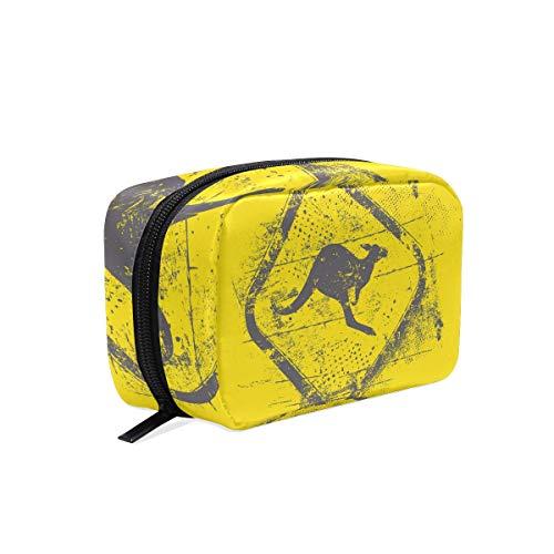 化粧品ポーチ カンガルー イエロー かわいい 仕切り付き 大容量 機能性 軽量 人気 収納バッグ レディース トラベル 雑貨 小物入れ 防水 ストレージポ