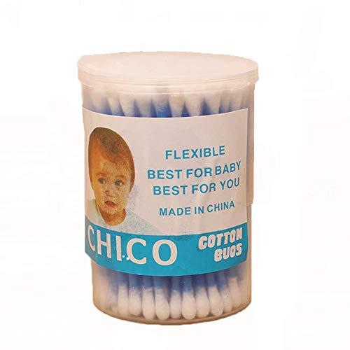 GIVBRO Lot de 100 Cotons-tiges en Coton avec Manche en Plastique et Double tête pour Maquillage, cosmétique, Nettoyage des Oreilles, Soins des plaies