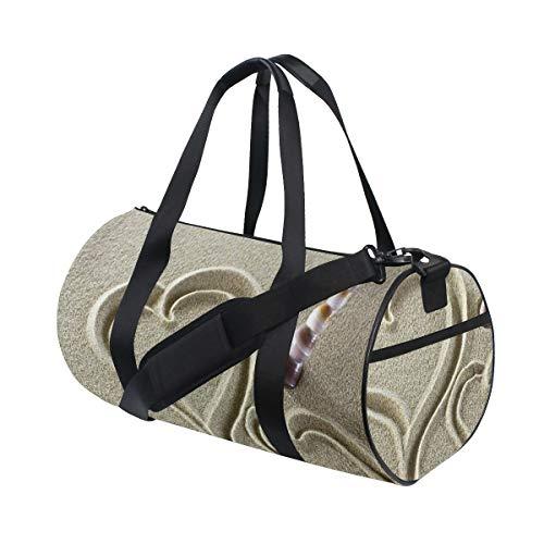 HARXISE Sporttasche Reisetasche,Herz Formen Finger gezeichnet auf Sand Waschbecken Muschel Nette Liebe Foto,Schultergurt Handgepäck für Übernachtung Reisen
