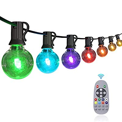 50FT Multicolor Outdoor String Lights, YUNLIGHTS RGB LED String Lights with 30+3 G40 Globe Bulbs, Dimmable Commercial Waterproof String Lights with Remote Control for Patio, Cafe, Backyard, Garden