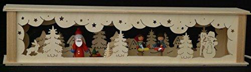 Schwibbbooghoogten verlicht met kerstman en strandkinderen B x H = 52 x 10 cm NIEUW lichtboog vensterbank Ertsgebergte hout