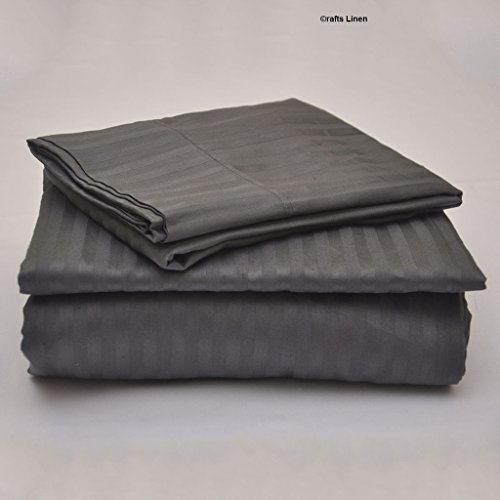 Crafts Linen Egyptian Cotton 400-Thread-Count Sateen 4 PCs Set (1 Duvet Cover Zipper Closer,1 Fitted Sheet & 2 Pillow Case) UK Caesar (+18 CM) Pocket Depth, Dark Grey Stripe