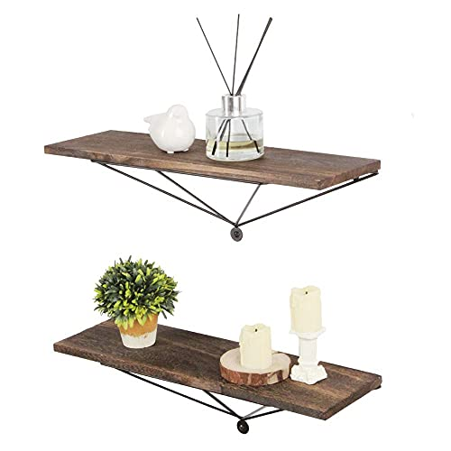 J JACKCUBE DESIGN Juego de 2 estantes de madera trapezoidal para montaje en pared, estantes flotantes, organizador y almacenamiento para sala de estar, dormitorio, cocina, decoración de oficina MK458A