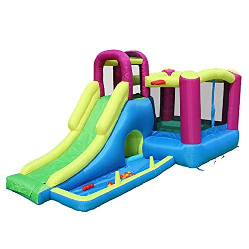 FYHpet Castillo Inflable para niños Inflatable Plaza de Juegos con Piscina Trampoline Multifunción Tobogán Pequeños niños al Aire Libre de 3 a 10 años