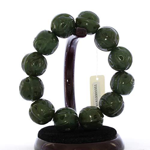 JL 3351 Herren-Armreif aus China zertifiziertem Natur, Hetian, Nephrit, Jade, handgefertigt, Walnuss-Perlen