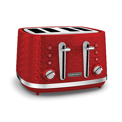 (Red) - Morphy Richards Vector 4 Slice Toaster 248133 Red Four Slice Toaster Red Toaster