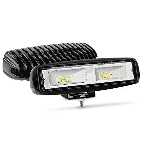 Nilight - 15021F-B LED Light Bar 2PCS 6 Inch 48W Flood Driving Fog Light Off...