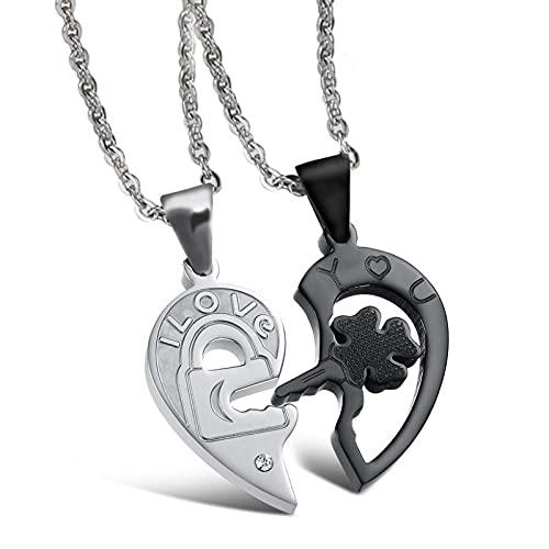 Nueva Personalidad Corazón Y Llave Rompecabezas Collar De Pareja Acero Inoxidable Estilo Negro Fresco1Par Precio Joyería Joyería Decoración De Moda