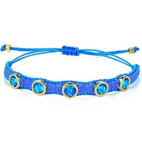 C·QUAN CHI Pulsera de Hilo Trenzado en Forma de círculo Pulsera Trenzada de Piedras Preciosas Pulsera Tejida Hecha a Mano para Mujeres y niñas Brazaletes Regalos (Azul)