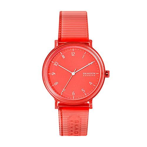 Skagen Men's Aaren Quartz Analog Stainless Steel and Plastic Watch, Color: Clear Red (Model: SKW6603)