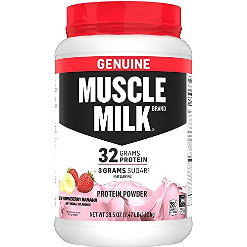 Muscle Milk Genuine Protein Powder, Strawberry Banana, 32g Protein, 2.47 Pound, 16 Servings