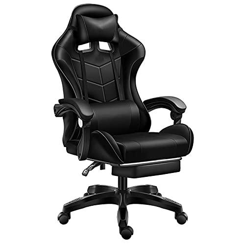 KXY Sedia Gaming Ergonomica Sedie da Ufficio Pelle PU Ufficio da Scrivania Poltrona, Altezza E Inclinazione Regolabile,con Poggiatesta E Supporto Lombare(Nero)