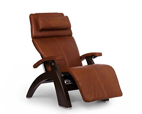 Perfect Chair Human Touch PC-610 Live Omni-Motion Dark Walnut Zero-Gravity Recliner Premium Leather Fluid-Cell Cushion Memory Foam Jade Heat - Cognac Premium Leather - in-Home White Glove Delivery