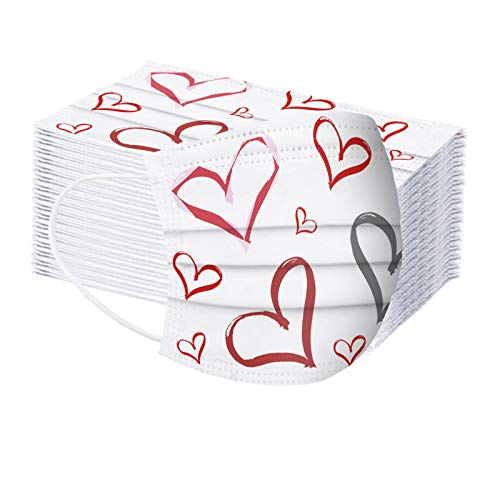 FZAI Unisex adults Disposable Valentines Day_Face_Mask_3D Love Heart Face Health Protection Dustproof Bandana Scarf Drill Valentines style + Filters
