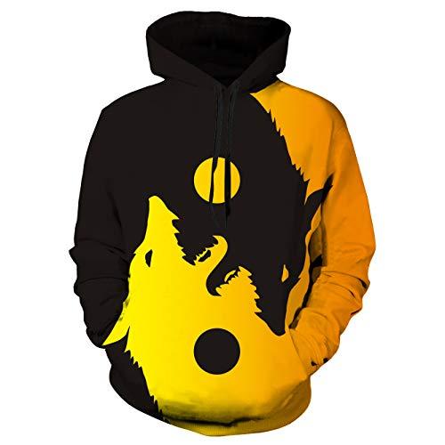 Wolf Hoodie Kangaroo Pocket Casual Cool Hoodies for Men Long Sleeves Pullover Sweatshirt(Wolf 06,Large)