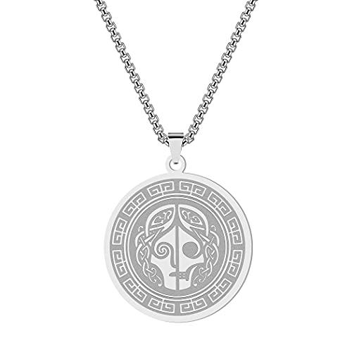 Chereda Personalized Norse Pagan Goddess Hel Pendant Necklace For Women Stainless Steel Mythology Jewelry Viking Amulet Necklace