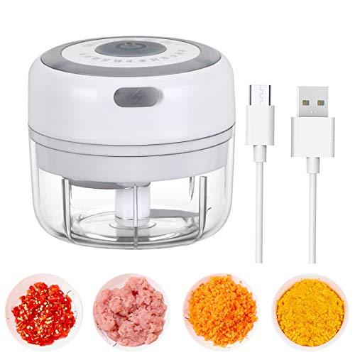 Mini picadora eléctrica, 100 ml, picadora de carne inalámbrica, potente, 3,7 V,...
