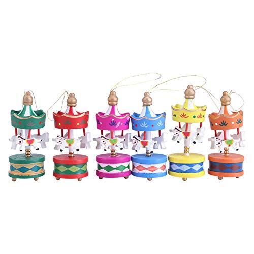 Giostra in Legno, Carosello in Legno a Forma di Cavallo Oramento Merry-Go-Round Decorazione della Stanza di Natale per Bambini Piccoli Bambini