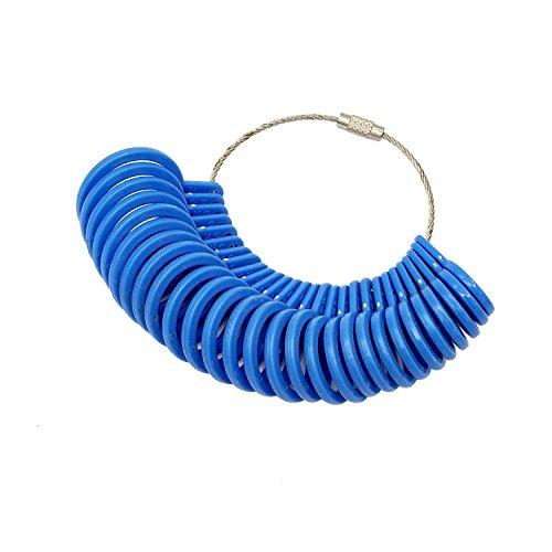 NIUPIKA Fingermessringe, Messgerät für Ringe, 27 Stück, Kunststoff blau