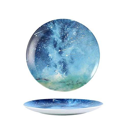 GZDD Vajillas de cerámica Estilo Cielo Nocturno 2 Piezas,Platos de Color para...