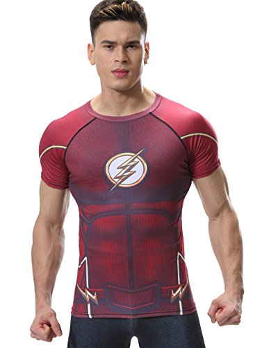 Red Plume Men's Compression Tight Fitness Shirt, Lightning Armor Sports T-Shirt (XXL, Red)