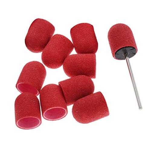 T TOOYFUL 10 Stk. Schleifbänder + 1 Stk. Dornen für Nagelbohrer Maniküre & Pediküre Werkzeugsatz - rot