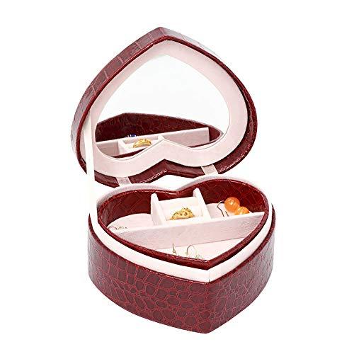 EXCLVEA Scatola di Gioielli Mini Contenitore di Monili A Forma di Cuore con Lo Specchio PU Valigia di Cuoio Organizzatori Titolari per Orecchini bracciali Anelli (Color : Wine Red)