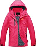 TACVASEN Giacca all'aperto Donne Impermeabile Giacca da Trekking Campeggio Pesca A Caccia Cappotti di Parka Giacca da Sci Inverno Women Sport Windbreker Hiking Fishing Winter Jacket Rosa Rossa