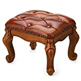 BILEEDA Small Foot Stool Brown Leather Ottoman Stools for Foot Rest Living Room Solid Rubber Wood Simple Assembly
