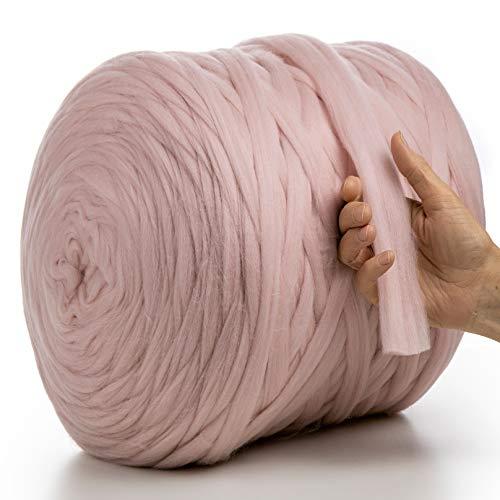 MeriWoolArt 100% lana de merino para punto y ganchillo con hilo de 2 cm de grosor, lana de merino gruesa para bufanda, manta y almohada XXL (rosa claro, 100 g)