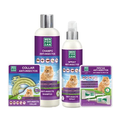MENFORSAN Pack de 4 Productos antiparasitarios para Gatos, Contiene Cuatro Productos repelentes: Collar, Champú, Spray y Dos Unidades de pipetas Anti Insectos, Combate Cualquier Insecto