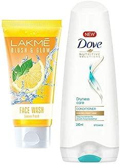 Lakmé Blush and Glow Lemon Fresh Facewash, 100g & Dove Dryness Care Conditioner, 180ml
