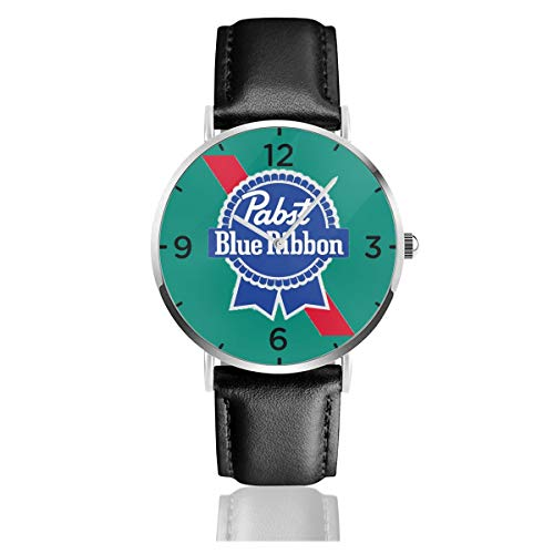 Pabst Blue Ribbon Watch PU Leather Strap Wrist Watches for Men & Women
