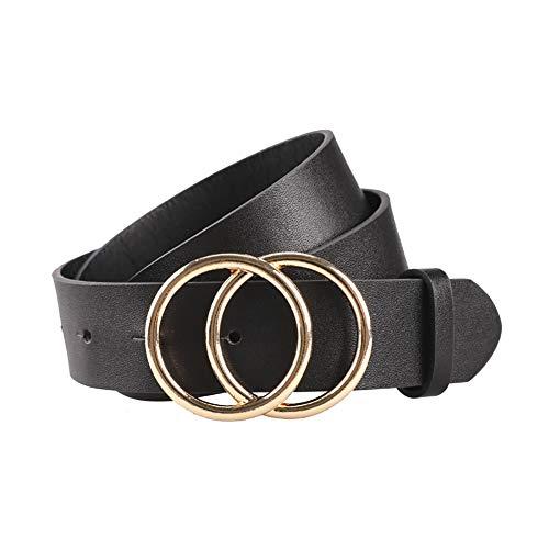 Schimer Women's PU leren riem soft taille loop belts voor jeans jurk Zwart 102,5 cm