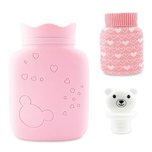 Mini Botella de Agua Caliente de Silicona, bolsa de agua caliente con fundas tejidas, Terapia de Frío y Calor para Alivio Rápido Del Dolor y Comodidad(Rosado)