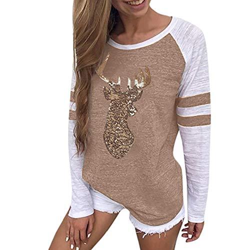 BOLANQ Weihnachts Tshirt Weihnachts Kleider Damen, Festival Christmas Womens Rentier Blusen T-Shirt Weihnachten Langarmshirts(Medium,Khaki)