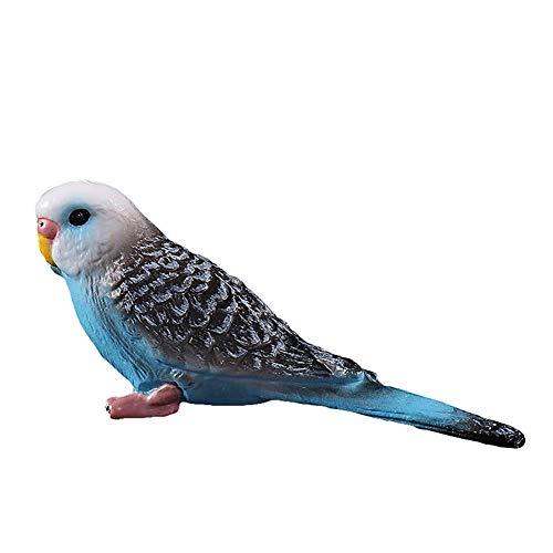 Vektenxi Emulation Papagei Wellensittich Vogel Tier Modell Spielzeug Kunststoff Handwerk Dekoration Blau Langlebig und Nützlich