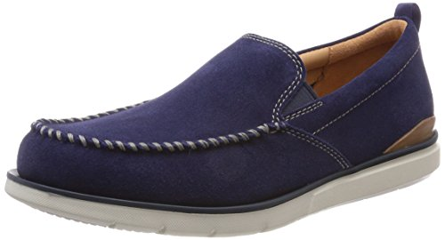 Clarks Edgewood Step, Mocasines para Hombre, Azul (Blue Suede), 42 EU