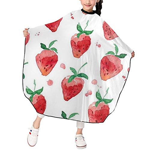 Kids Haircut Apron,Strawberry Barber Cape Cover for Hair Cutting,Styling and Shampoo, for Boys and Girls