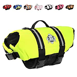 Paws Aboard Dog Life Jacket, Fashionable Dog Life Vest for Swimming and Boating – Neon Yellow