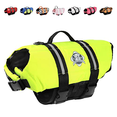 Paws Aboard Dog Life Jacket, Fashionable Dog Life Vest for Swimming and Boating - Neon Yellow
