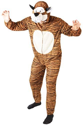 Foxxeo Tiger Kostüm für Erwachsene Damen und Herren Tierkostüm Overall Jumpsuit Größe XL