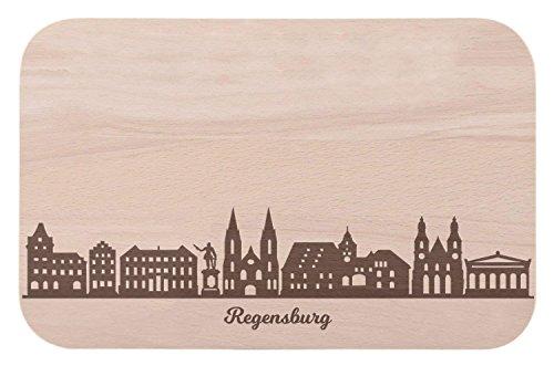 Frühstücksbrettchen Regensburg mit Skyline Gravur - Brotzeitbrett & Geschenk für Regensburg Stadtverliebte & Fans - ideal auch als Souvenir