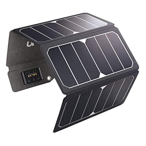Purchase MOOLSUN Solar Charger 28W Portable Sunpower PU Solar Panel Charger with 3 USB Output Ports ...