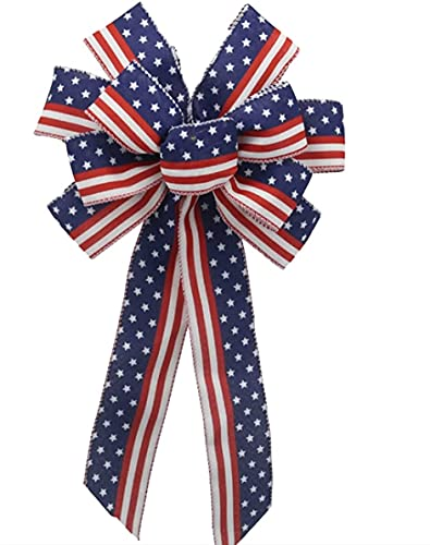 Independence Day Wreath Bow, Red Blue Stars and Stripes Bow 4th of July American Flag Wreath Bow for Indoor Outdoor Bunting Wreath Holiday Independence Day Party Door Wall Decoration