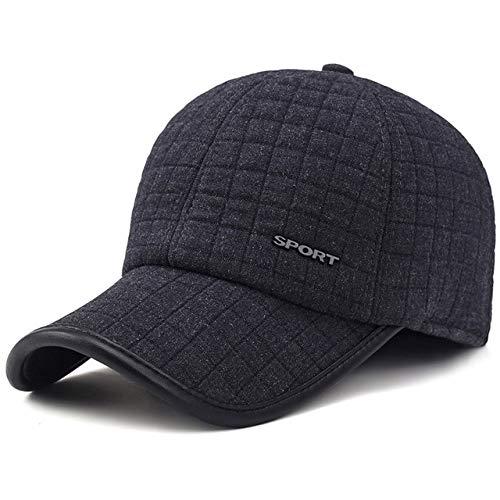 QOHNK Gorra de béisbol de Invierno para Hombres con Orejeras Gorra Gruesa de algodón cálido Snapback Hombres Sombreros de Padre Protección auditiva