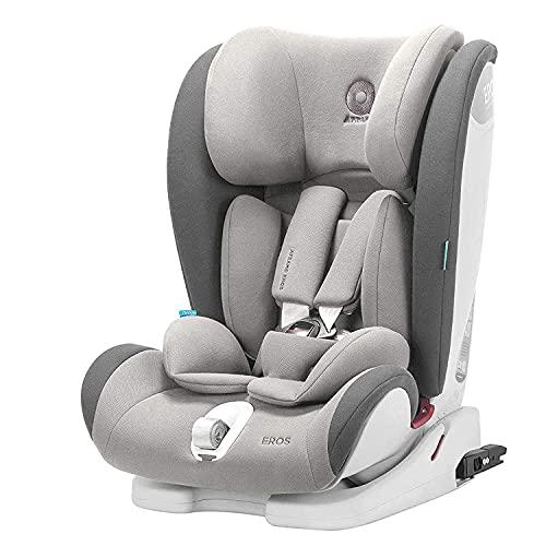 APRAMO Eros Kinderautositz Gruppe 1/2/3 (9-36kg) Autositz Kindersitz mit 4 Liegepositionen 9 Monate - 12 Jahre (Grau)
